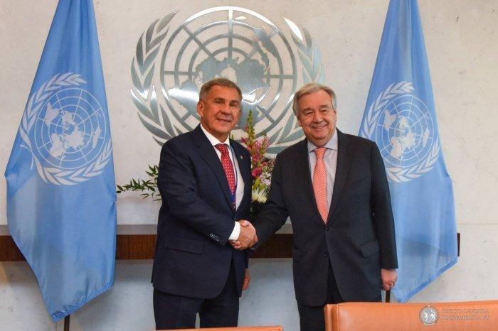 Минниханов и Гутерреш в штаб-квартире ООН.