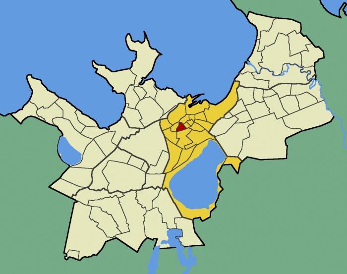 Микрорайон Татари в Таллине (желтым цветом отмечен центральный район Таллина - Кесклинн, а красным - микрорайон Татари)