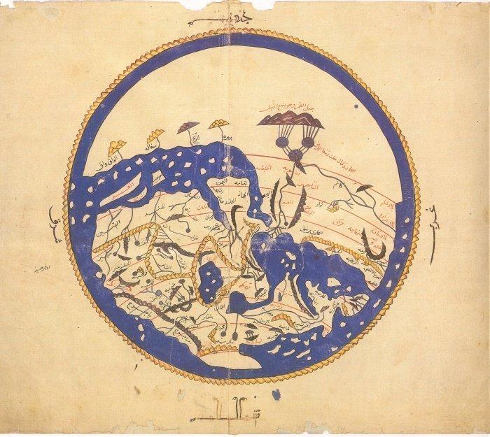 Реконструкция утраченной карты аль-Идриси, составленной в 1154 году. Ее еще иногда называют ''перевернутой картой'', потому что юг находится наверху, а север - внизу.