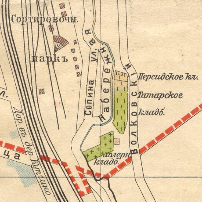 Персидское, Татарское и Холерное кладбища на плане Санкт-Петербурга, 1913