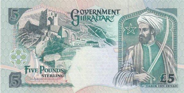 Купюра 5-ти фунтов стерлингов Гибралтара в честь Тарика ибн Зияда