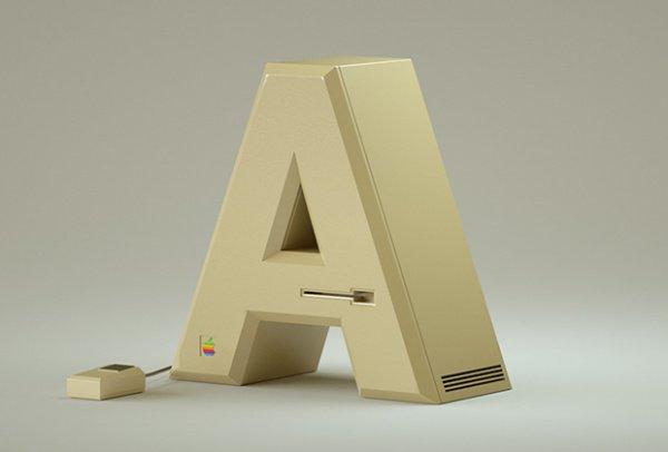 Все буквы созданы как будто из деформированных устройств