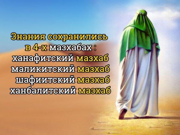 Знания сохранились в 4-х мазхабах