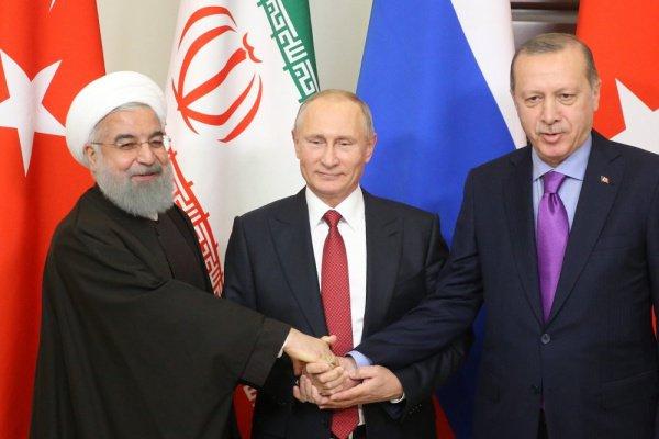 Лидеры России, Турции и Ирана на встрече в Сочи.